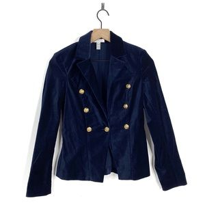 Aqua Navy Blue Velvet Velour Button Blazer Jacket